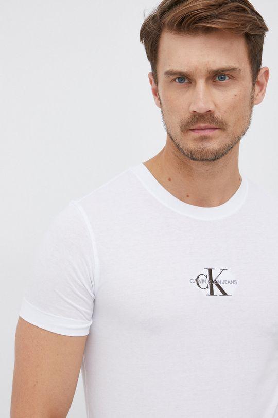 biały Calvin Klein Jeans - T-shirt bawełniany