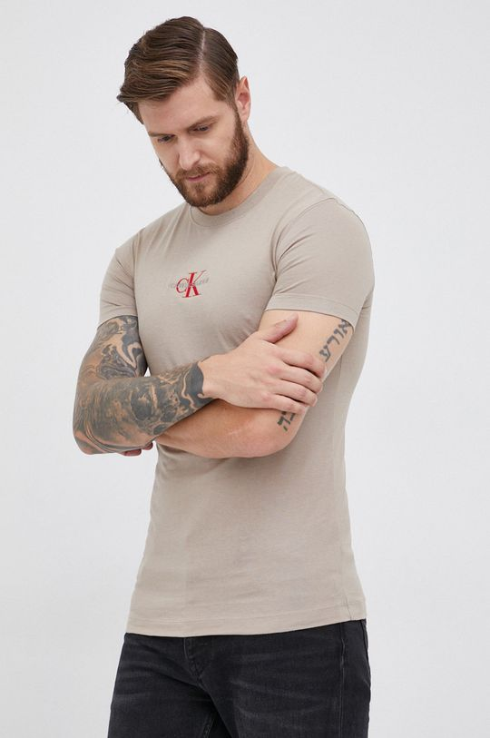 beżowy Calvin Klein Jeans - T-shirt bawełniany Męski