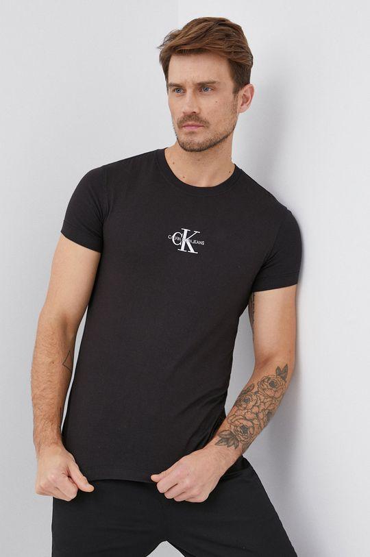 czarny Calvin Klein Jeans - T-shirt bawełniany