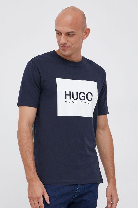 granatowy Hugo - T-shirt bawełniany Męski