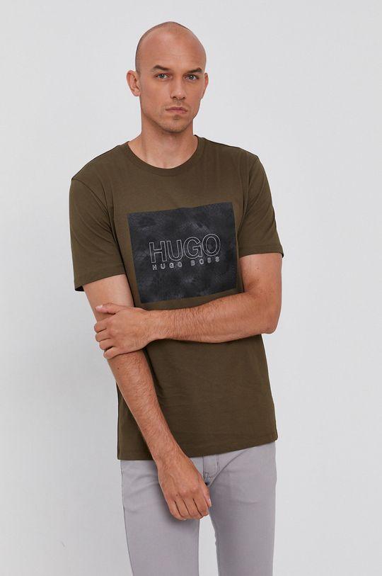 zielony Hugo - T-shirt bawełniany Męski