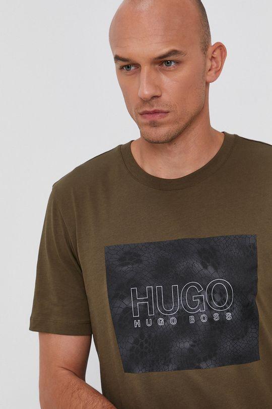 zielony Hugo - T-shirt bawełniany
