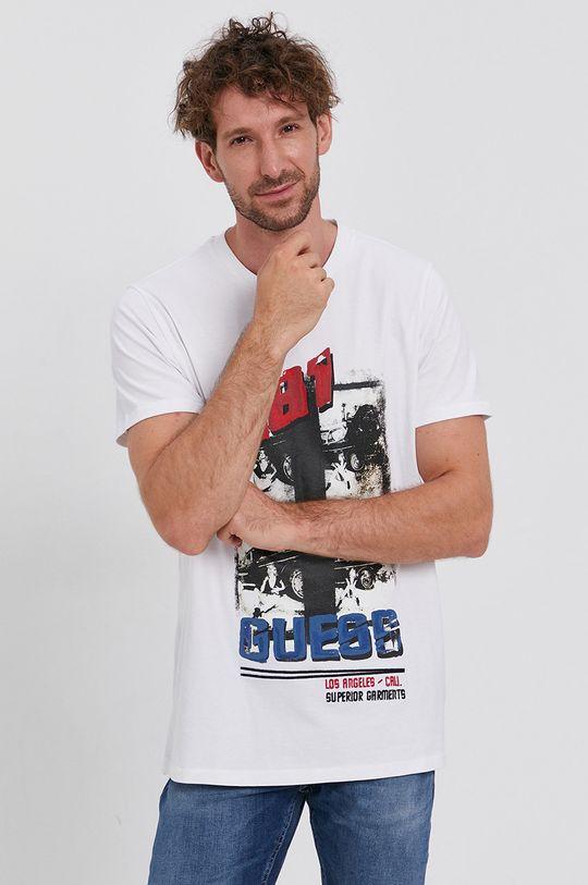 biały Guess - T-shirt bawełniany Męski