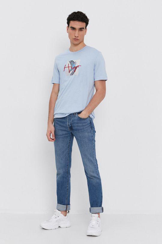 Hugo - T-shirt bawełniany jasny niebieski