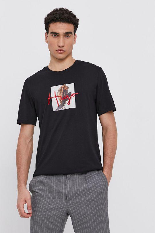 czarny Hugo - T-shirt bawełniany Męski