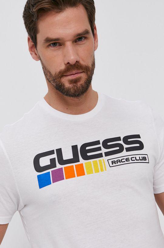 alb Guess - Tricou din bumbac De bărbați
