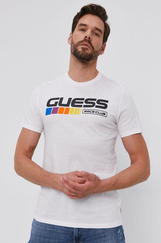 alb Guess - Tricou din bumbac