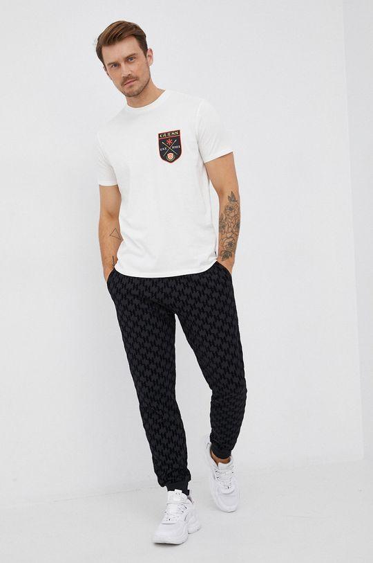 bílá Guess - Bavlněné tričko Pánský
