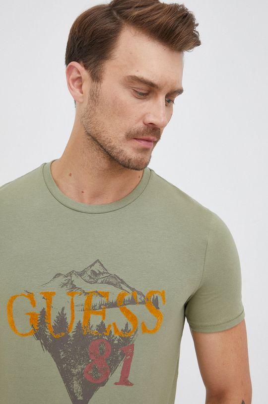 brudny zielony Guess - T-shirt Męski
