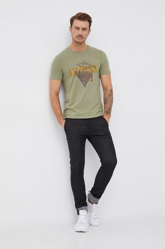 Guess - T-shirt brudny zielony