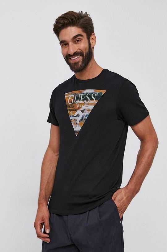 czarny Guess - T-shirt bawełniany Męski
