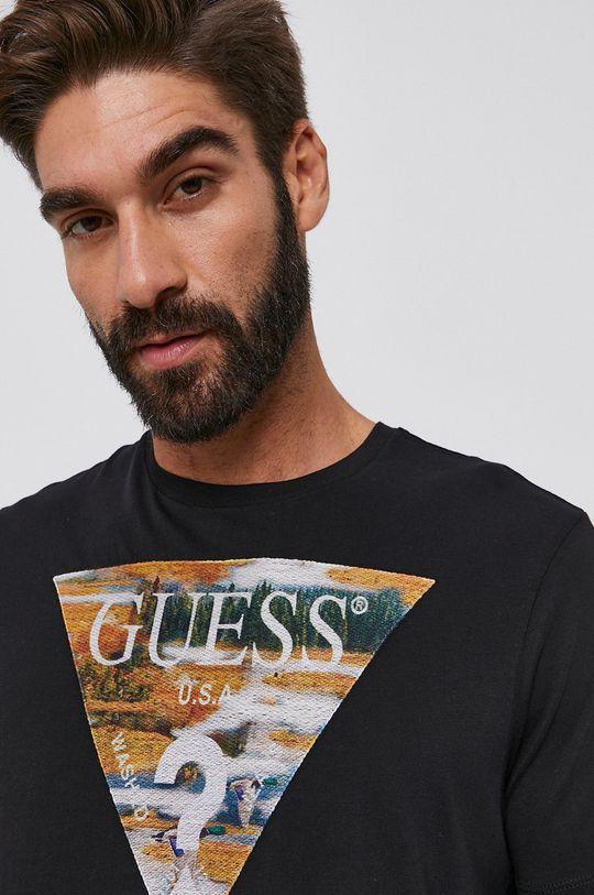 czarny Guess - T-shirt bawełniany