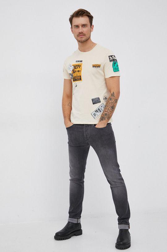 Guess - Bavlněné tričko smetanová