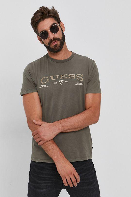 jasny oliwkowy Guess - T-shirt bawełniany Męski