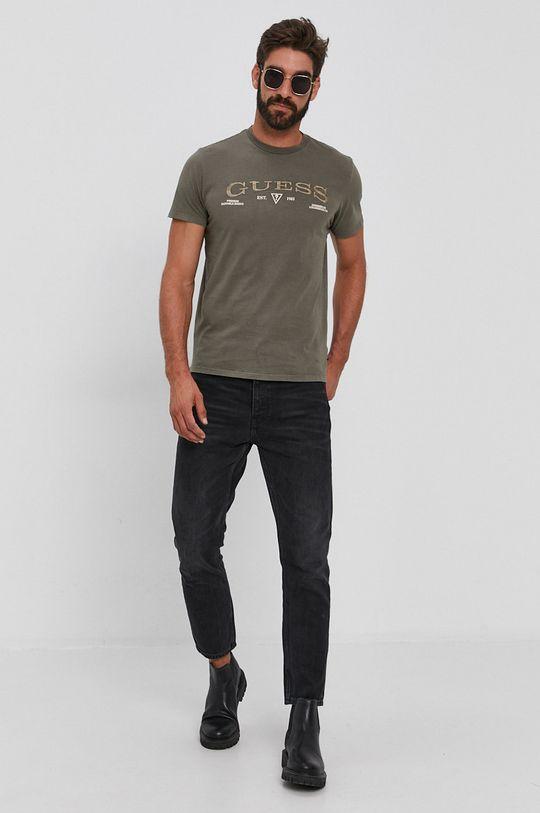 Guess - T-shirt bawełniany jasny oliwkowy