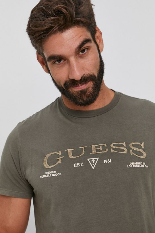 jasny oliwkowy Guess - T-shirt bawełniany
