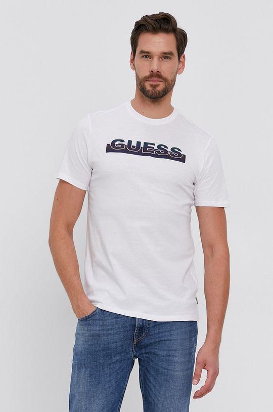 biela Guess - Bavlnené tričko Pánsky