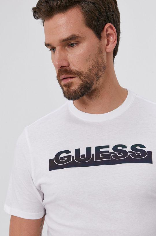 biela Guess - Bavlnené tričko
