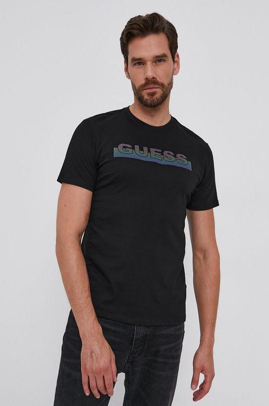 negru Guess - Tricou din bumbac De bărbați