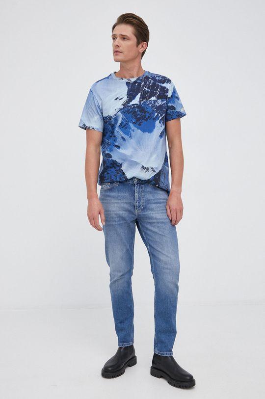 Guess - T-shirt bawełniany niebieski