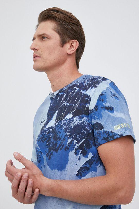 niebieski Guess - T-shirt bawełniany