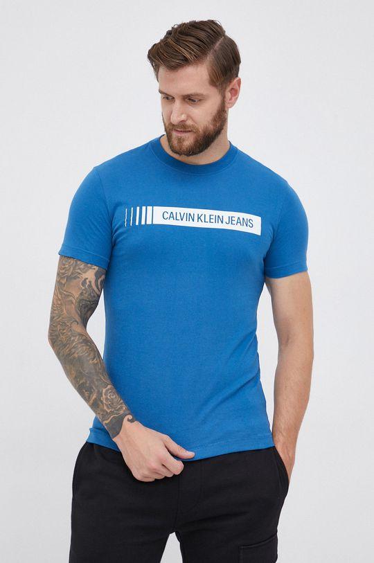 niebieski Calvin Klein Jeans - T-shirt bawełniany Męski