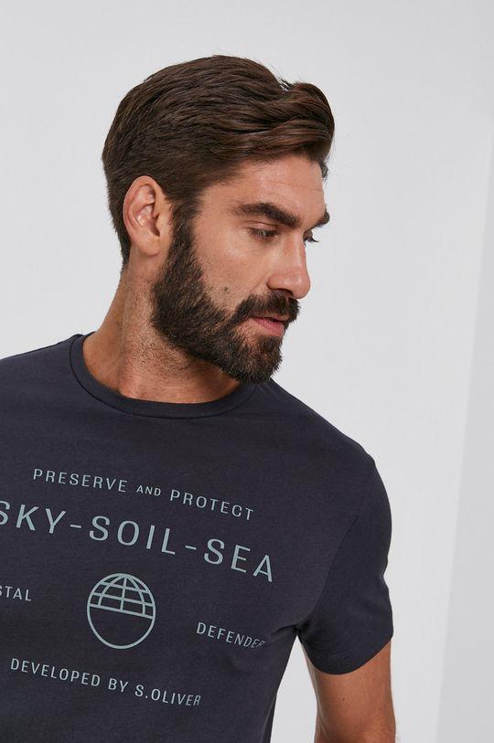 szary s. Oliver - T-shirt bawełniany Męski