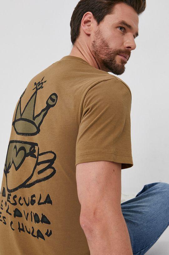olivová Desigual - Bavlnené tričko Pánsky