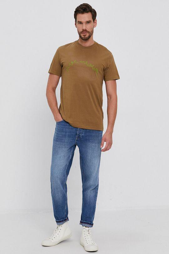 Desigual - Bavlnené tričko olivová