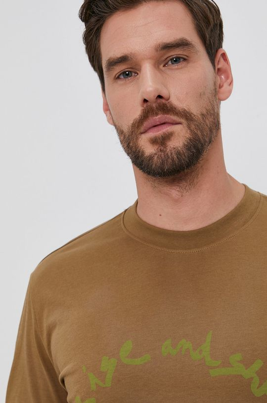olivová Desigual - Bavlnené tričko