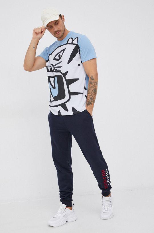 modrá Desigual - Bavlněné tričko Pánský