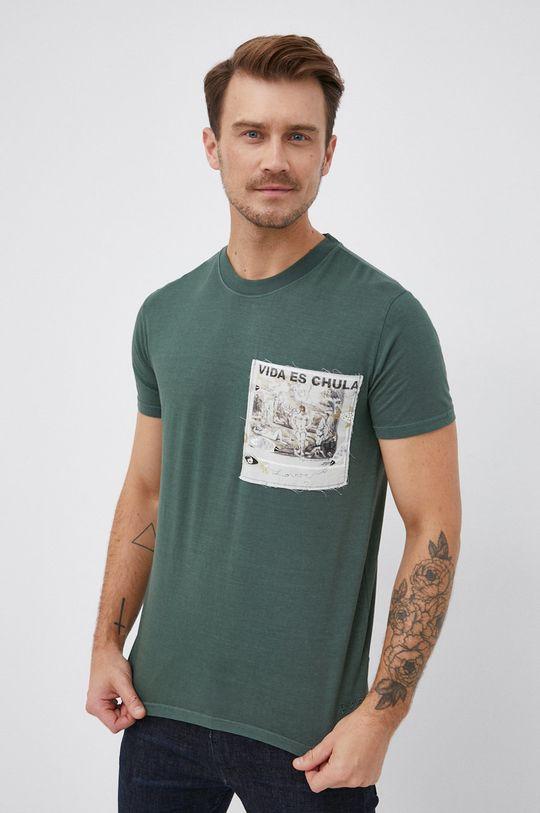 tmavě zelená Desigual - Bavlněné tričko Pánský