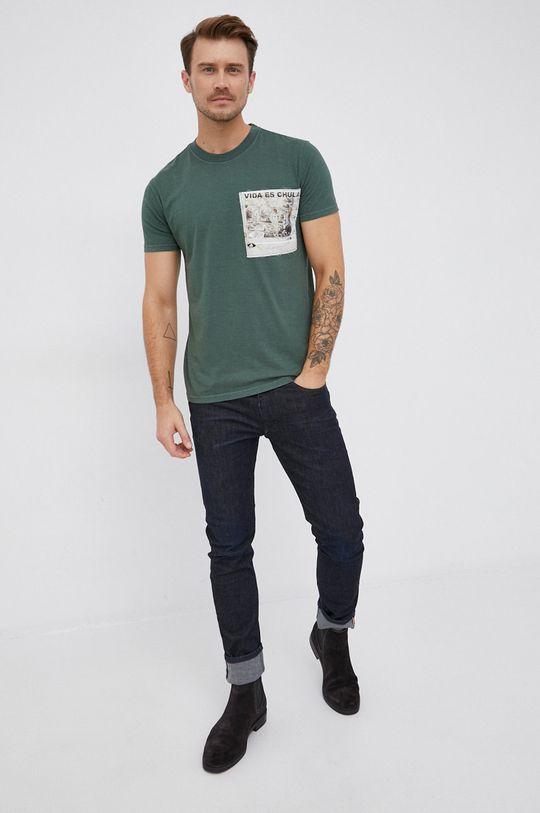 Desigual - Bavlněné tričko tmavě zelená