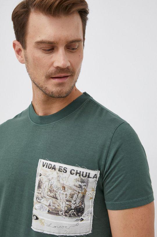 tmavě zelená Desigual - Bavlněné tričko