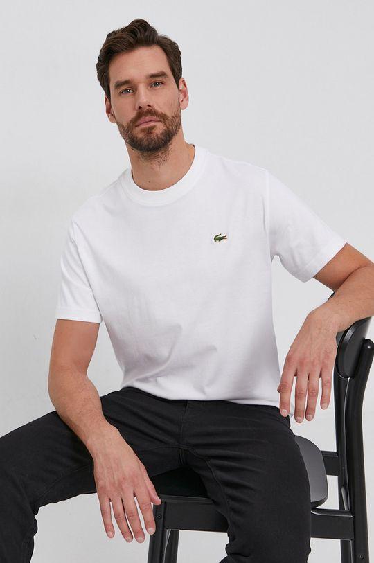 alb Lacoste - Tricou din bumbac De bărbați