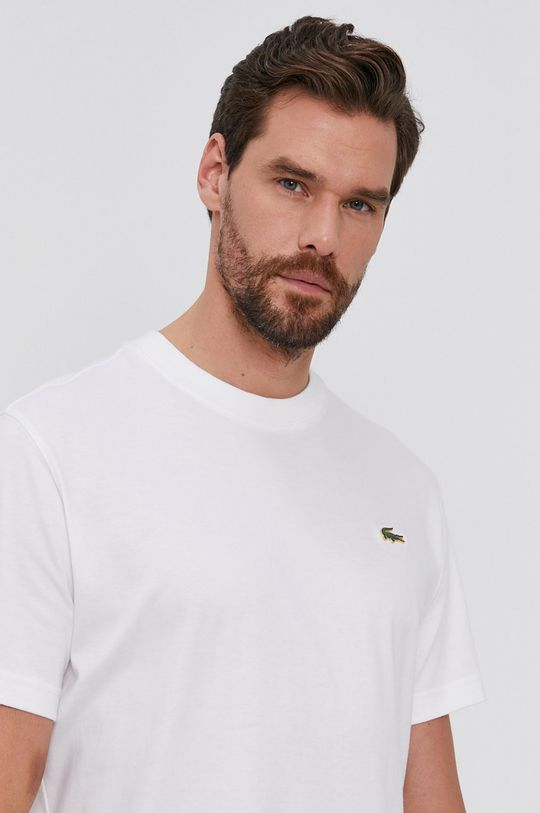 alb Lacoste - Tricou din bumbac