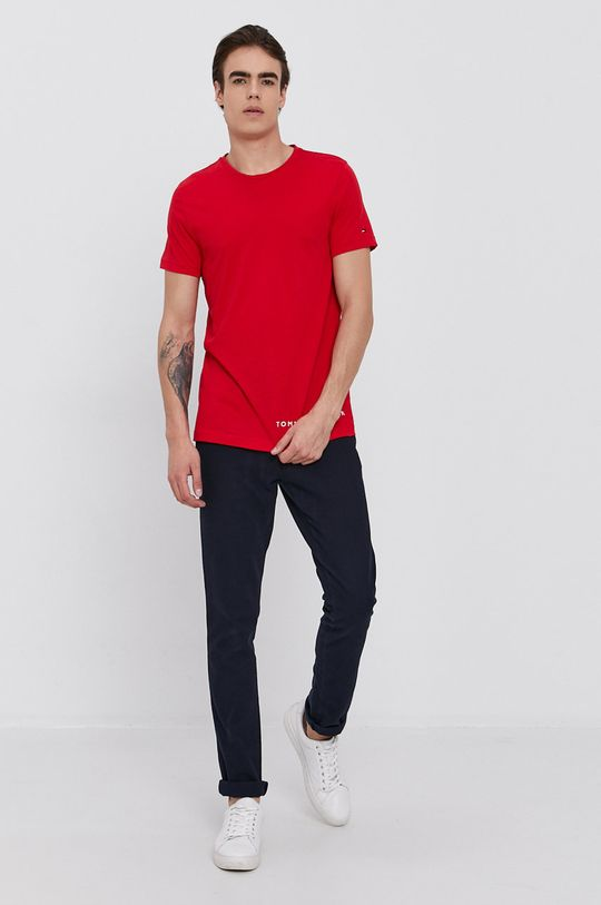 Tommy Hilfiger - T-shirt bawełniany czerwony