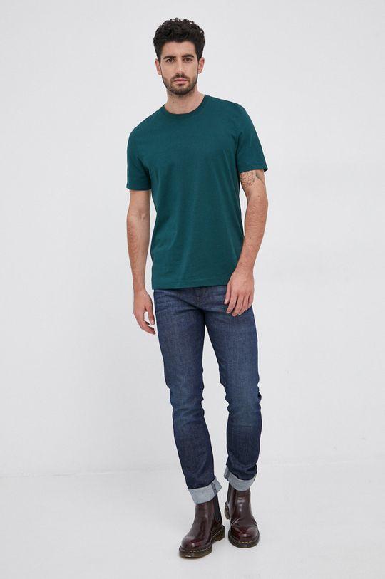 Boss - T-shirt bawełniany ciemny zielony