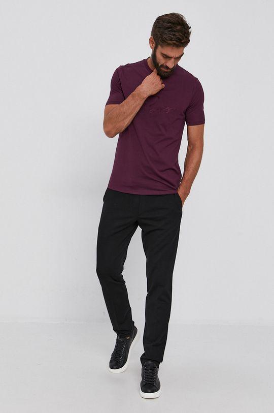 Boss - T-shirt bawełniany purpurowy