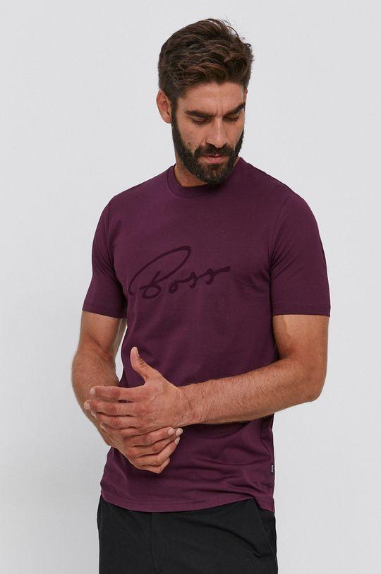 purpurowy Boss - T-shirt bawełniany