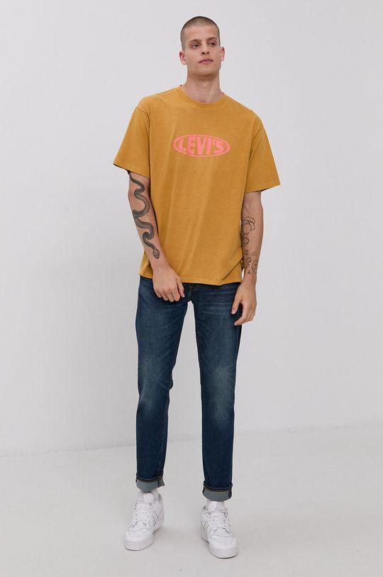 Levi's - T-shirt bawełniany żółty