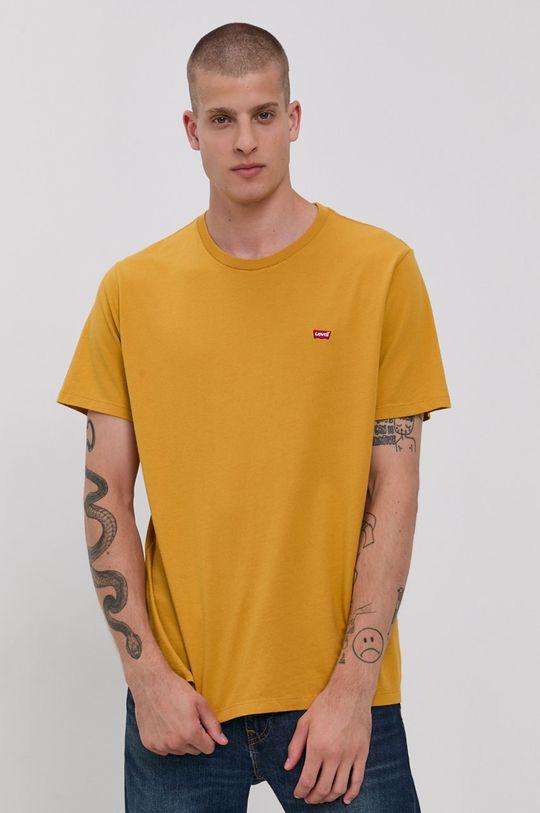 žlutá Levi's - Bavlněné tričko Pánský