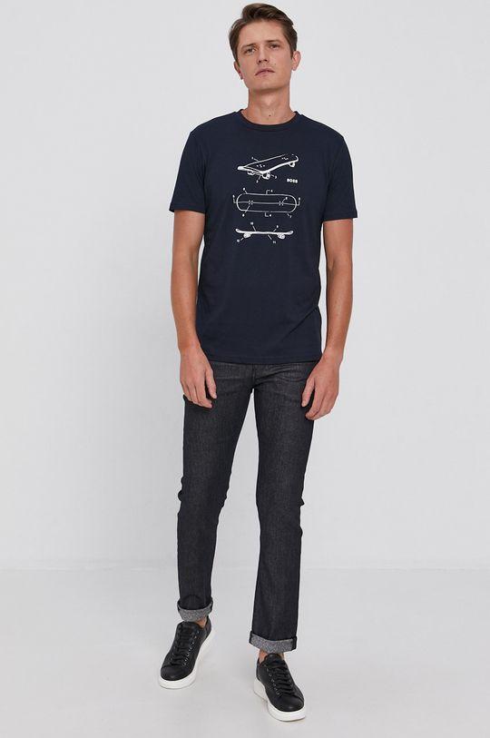 Boss - T-shirt bawełniany Boss Casual granatowy
