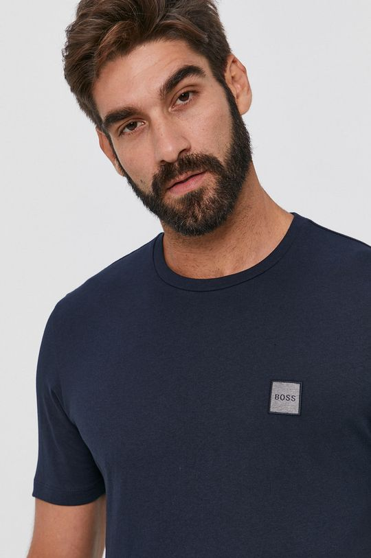 granatowy Boss - T-shirt bawełniany Męski