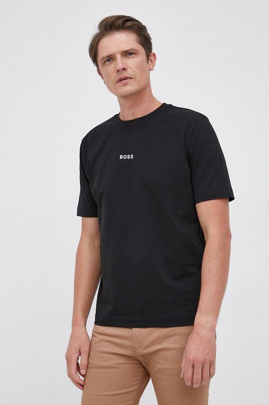 czarny Boss - T-shirt Męski