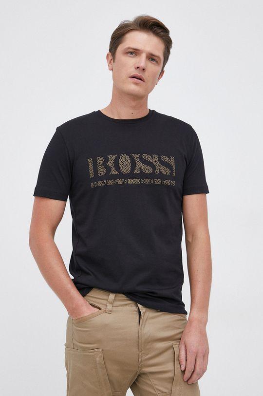 czarny Boss - T-shirt bawełniany Męski