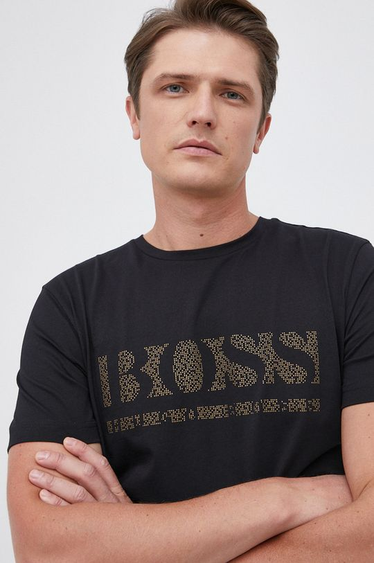 czarny Boss - T-shirt bawełniany