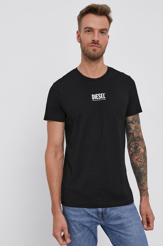 čierna Diesel - Bavlnené tričko Pánsky