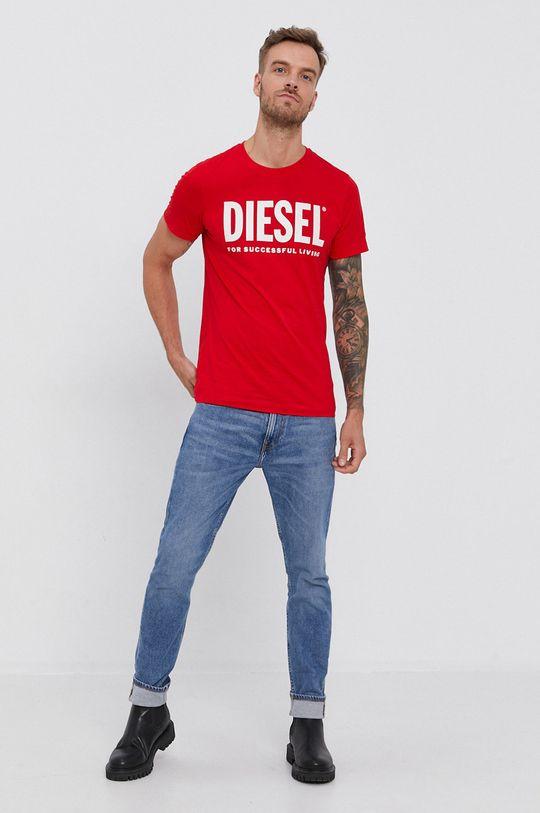 Diesel - Bavlněné tričko červená