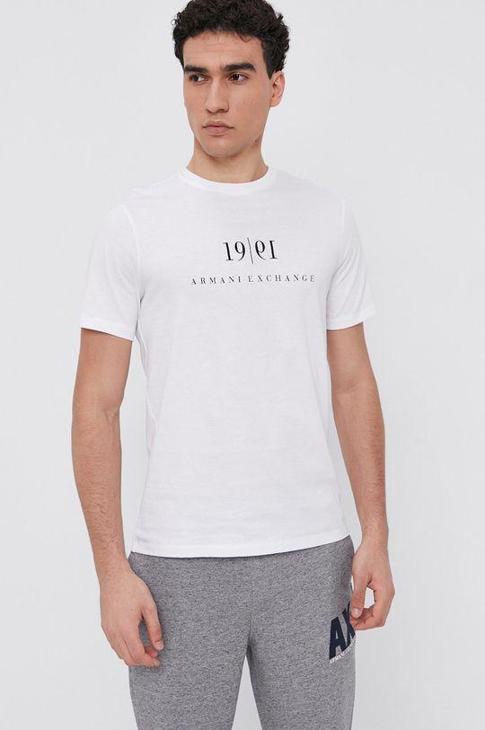 biela Armani Exchange - Bavlnené tričko Pánsky